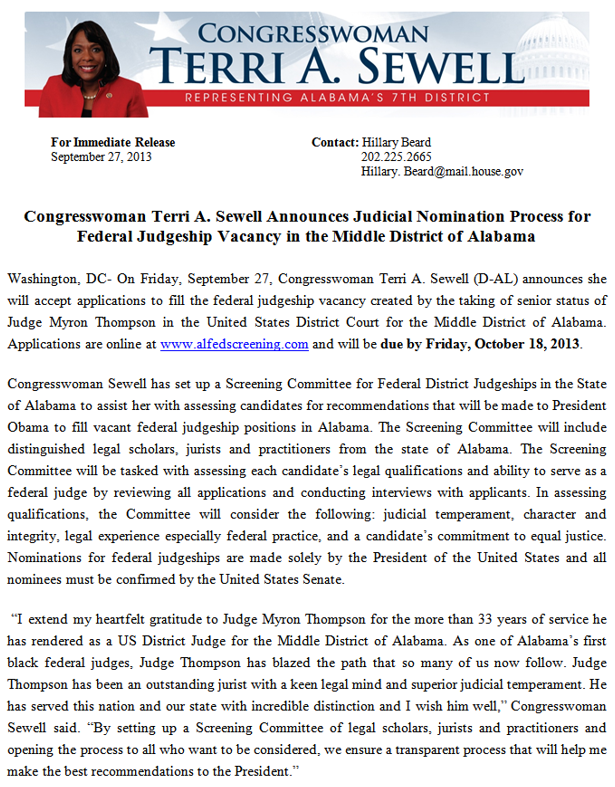 Congresswoman Terri A Sewell Announces Judicial Nomination Process for Federal Judgeship Vacancy in the Middle District of Alabama
