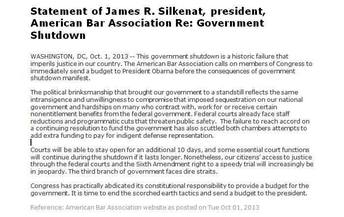 Statement of James R. Silkenat, President, American Bar Association Re: Government Shutdown